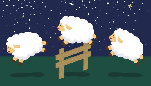 counting-sheep-in-night-background-vector-21465882